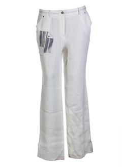 my way pantalons femme de couleur blanc casse