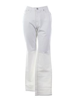 trussardi jeans pantalons femme de couleur blanc casse