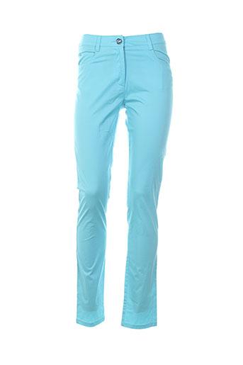 leslie pantalons femme de couleur bleu