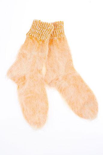 berthe et aux et grands et pieds chaussons femme de couleur orange