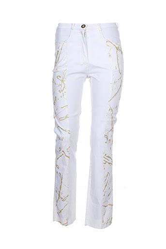 bleu d'azur pantalons femme de couleur blanc