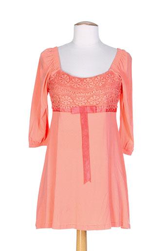 carre rouge t-shirts femme de couleur orange