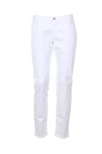 save the queen pantalons femme de couleur blanc