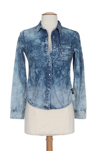 chipie chemises fille de couleur bleu