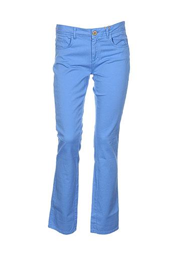 greenandpepper pantalons femme de couleur bleu