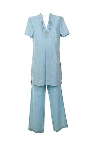 initiative t et shirt et pantalon femme de couleur bleu