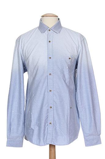 joe san chemises homme de couleur bleu