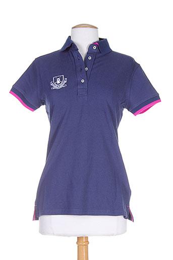 vestiaires principaute cannoise t-shirts femme de couleur bleu