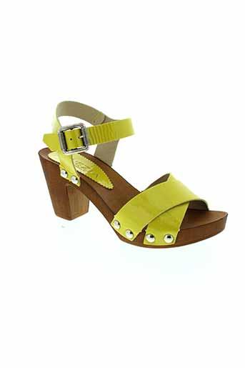 venezia sandales et nu et pieds femme de couleur jaune