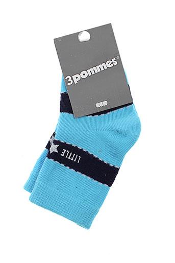 3 et pommes chaussette garcon de couleur bleu (photo)