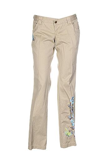 friponne pantalons femme de couleur beige