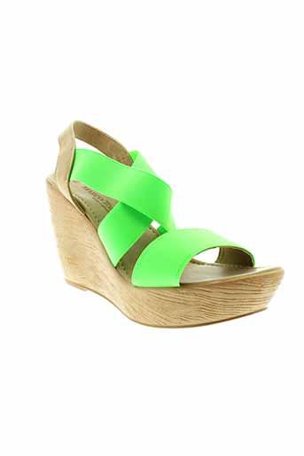 marco et tozzi sandales et nu et pieds femme de couleur vert