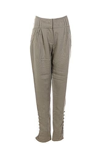 lou de beauregard pantalons femme de couleur gris