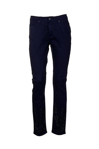 leslie pantalons et decontractes femme de couleur bleu