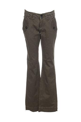 oxbow pantalons femme de couleur vert