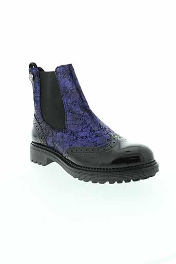 cafe et noir boots femme de couleur bleu
