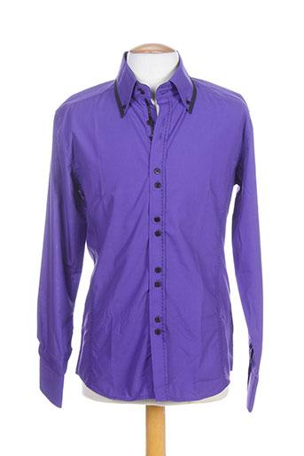 biaggio chemises homme de couleur violet