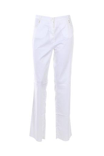 mori castello pantalons femme de couleur blanc