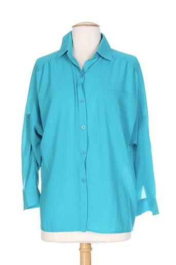 tricotonic chemises femme de couleur bleu