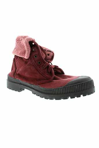 natural et world bottines femme de couleur rouge