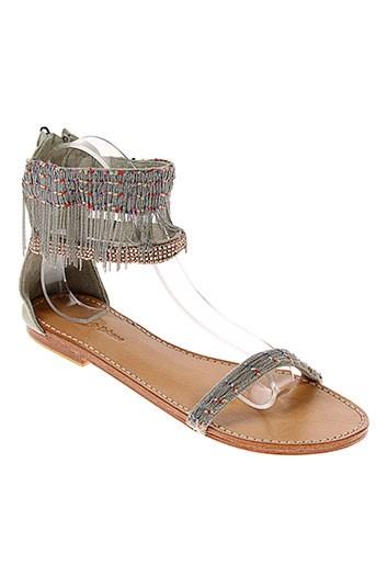 ambre et babzoe sandales et nu et pieds femme de couleur gris