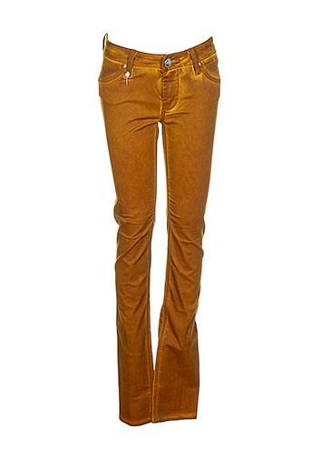 lerock pantalons femme de couleur marron
