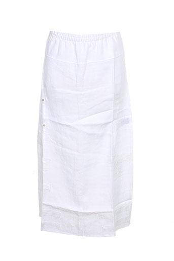 Jupe mi-longue blanc CATY LESCA pour femme