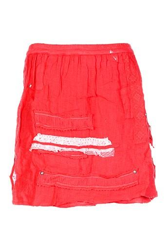 Jupe courte rouge CATY LESCA pour femme