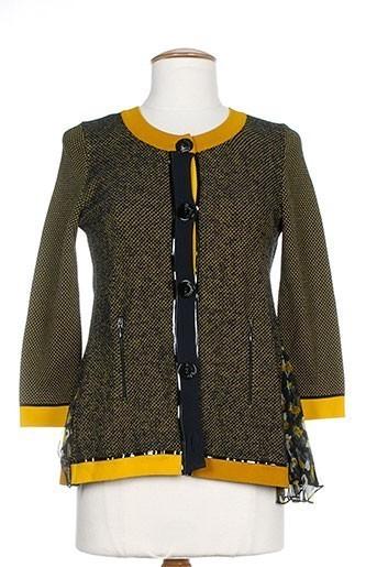 tricot chic gilets femme de couleur jaune