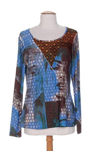 eroke t-shirts femme de couleur bleu