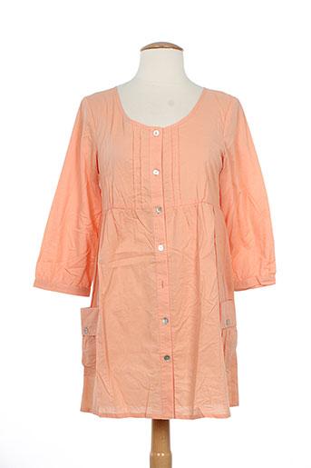 Tunique manches longues orange ICHI pour femme