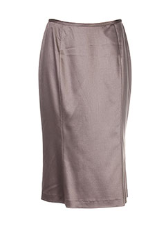 Jupe mi-longue marron HELENA SOREL pour femme