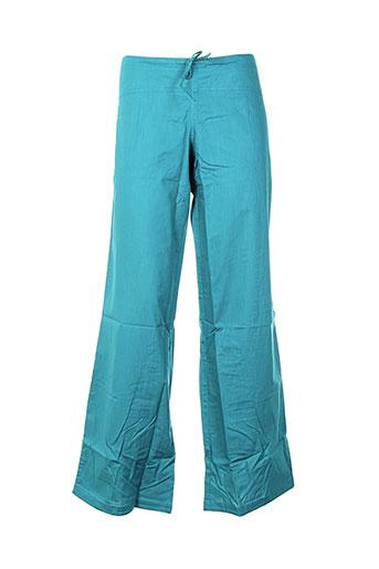 coton du monde pantalons femme de couleur bleu