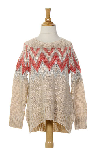 Pull col rond beige BENETTON pour fille