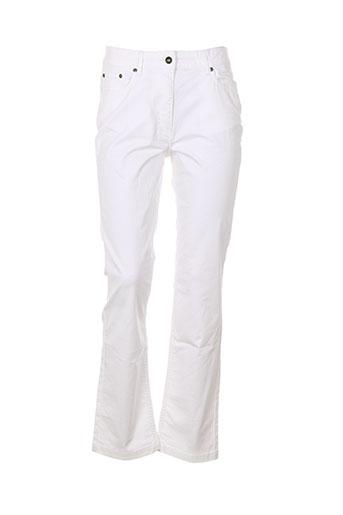 claude de saivre pantalons femme de couleur blanc