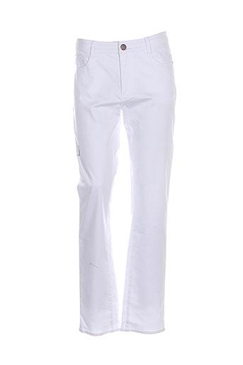 concept k pantalons femme de couleur blanc