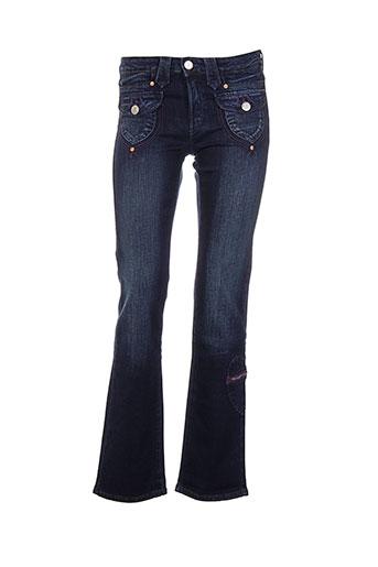 cimarron jeans et coupe et droite fille de couleur bleu
