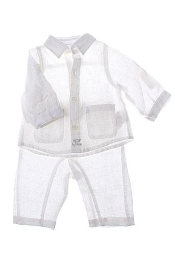 3 et pommes pantalon et veste garcon de couleur blanc (photo)