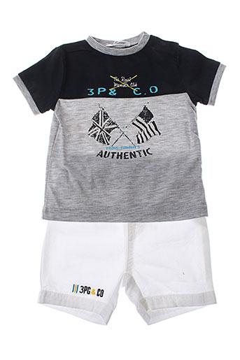 3 et pommes t et shirts et shorts garcon de couleur gris (photo)
