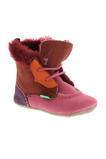 kickers chaussons fille de couleur rose
