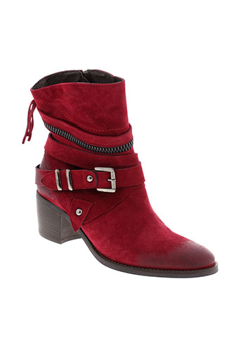 regard bottines femme de couleur rouge