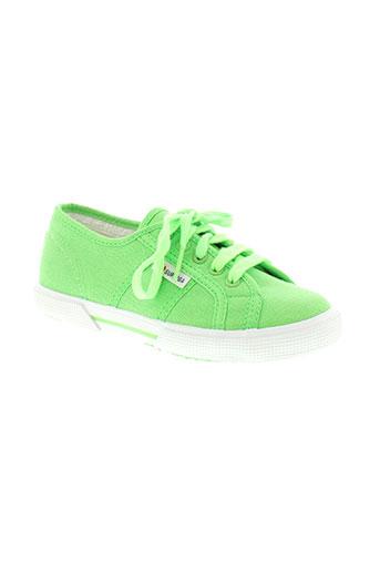 superga chaussures enfant de couleur vert
