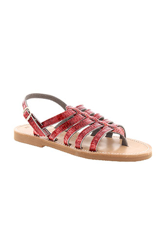griffe noire chaussures fille de couleur rouge