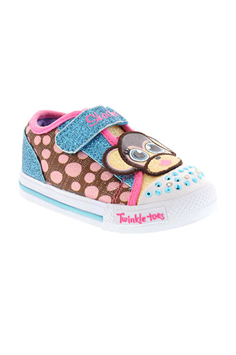 skechers baskets fille de couleur bleu