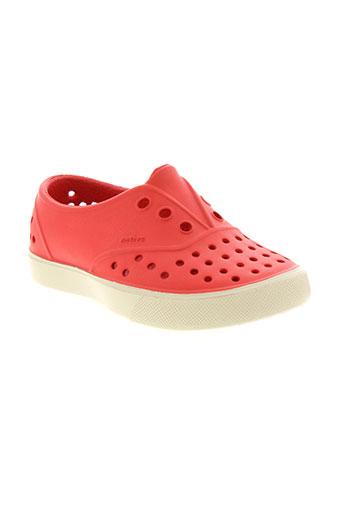 native chaussures enfant de couleur rouge