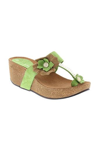 coco et abricot chaussures femme de couleur vert