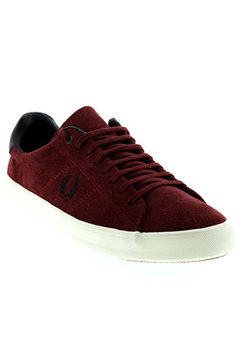 fred perry chaussures homme de couleur rouge