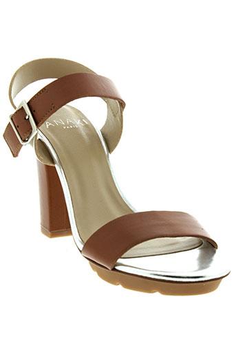 anaki sandales et nu et pieds femme de couleur marron