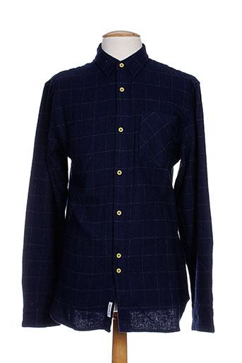 bellfield chemises homme de couleur bleu