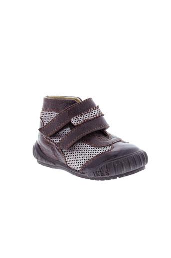 ikks chaussures fille de couleur marron